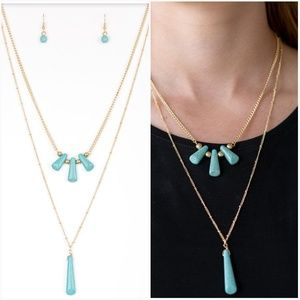 BASIC GROUNDWORK GOLD TURQUOISE NECKLACE/EARRING S